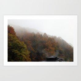 Onsen steam in autumn foliage Art Print