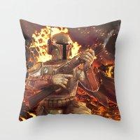 boba fett Throw Pillows featuring Boba Fett by MATT DEMINO