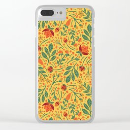 Yellow, Orange, Red, & Teal Light Floral Pattern Clear iPhone Case