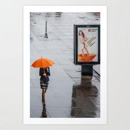 Orange umbrella Art Print