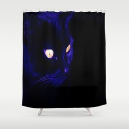 Black Cat Photograph, Halloween Eyes Shower Curtain