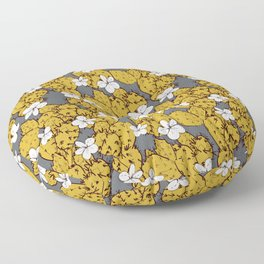 cactus with flowers sketch golden mustard, black contour on Gray background. simple ornament Floor Pillow