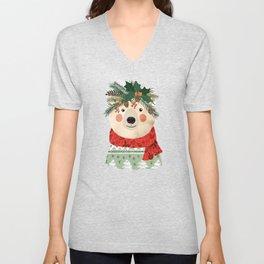 Polar Bear With Christmas Flowers Unisex V-Neck