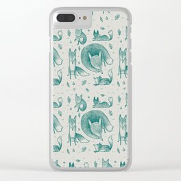 Fox Pattern Clear iPhone Case