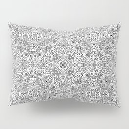 Techy doodle - repeating digital pattern - black and white - computers Pillow Sham
