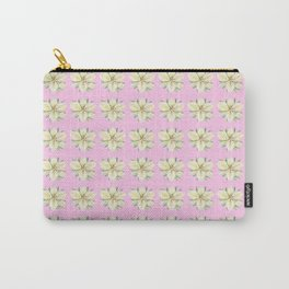 White Lily Pattern on Pink Carry-All Pouch