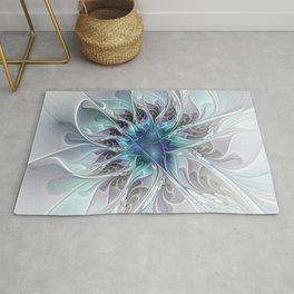 Flourish Abstract, Fantasy Flower Fractal Art Rug