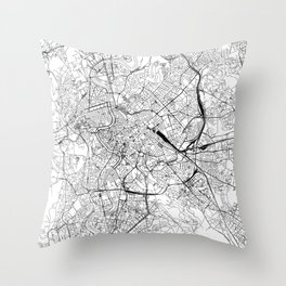 Rome White Map Throw Pillow