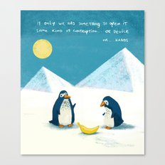 Penguins and bananas Canvas Print