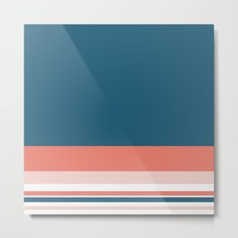 Lovely Colours Minimalist Color Block Stripe Design in Teal Blue, Coral Pink, Blush, and White Metal Print