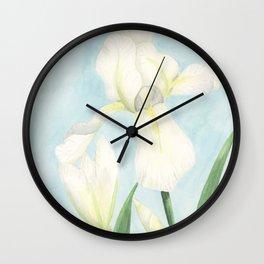 White Iris Wall Clock