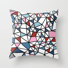 Segment Pink and Blue Throw Pillow