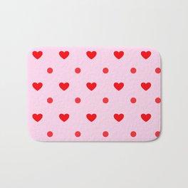 Pink & Red Heart Polka Dot Print Bath Mat