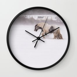 Lonely horse in the snow Wall Clock