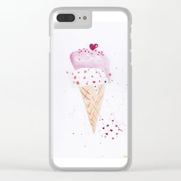 Ice cream Love watercolor illustration summer love pink strawberry Clear iPhone Case