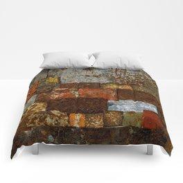 Metallic Textures Mosaic Collage by Annalisa Ramondino Comforters