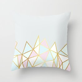 Gold & Pastel Geometric Pattern Throw Pillow
