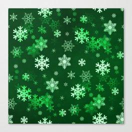 Dark Green Snowflakes Canvas Print