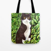 kitty Tote Bags featuring Kitty by gretzky