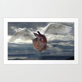 A portrait of an angel rabbit Art Print