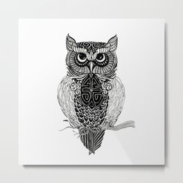 Patterned Owl Metal Print
