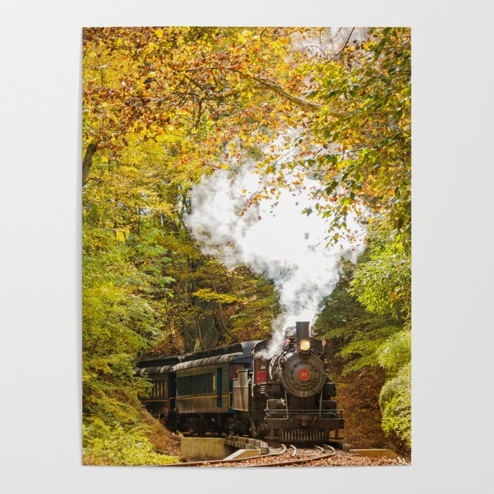 Nature Landscape Photography - Steam Train with Autumn Foliage Poster