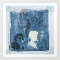 bob dylan Art Prints featuring Bob Dylan by The Printed Peanut