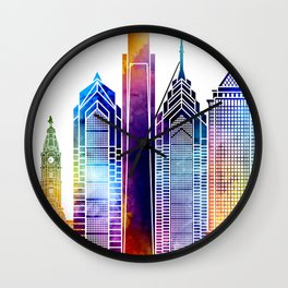 Philadelphia landmarks watercolor poster Wall Clock