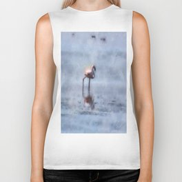 Solitary Flamingo Watercolor Biker Tank