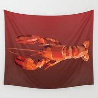 lobster Wall Tapestries featuring Geometric Lobster by Werk of Art