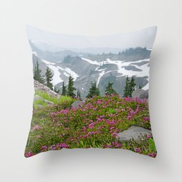 THE LAST OF SUMMER'S SNOW FROM KULSHAN RIDGE Throw Pillow