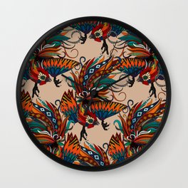 rooster ink beige Wall Clock