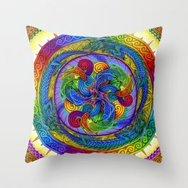 Epiphany Dragon Fish Psychedelic Mandala Throw Pillow