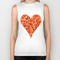 pizza Biker Tanks featuring PIZZA by Good Sense