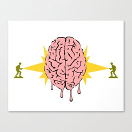 Toys soldiers melting a brain with lasers - funny vector illustration Canvas Print
