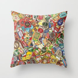 Another Beer Labels Throw Pillow
