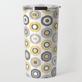 Buttons. Cute Geometric Pattern in Mustard Yellow, Grey, and White Travel Mug