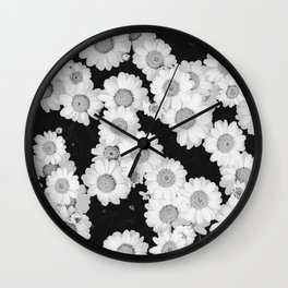 The Daisy Garden (Black and White) Wall Clock