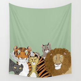 Surprised Big Cats Wall Tapestry