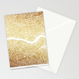LONDON MAP, gold Stationery Cards