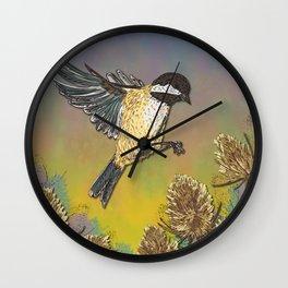 Coal Tit and Teasels Wall Clock