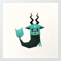 capricorn Art Prints featuring Capricorn by Yetiland