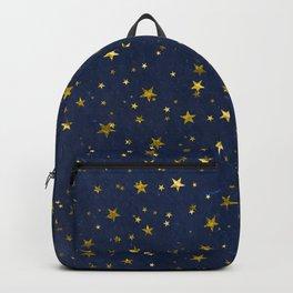 Golden Stars on Blue Background Backpack