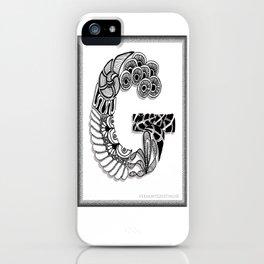 Zentangle G Monogram Alphabet Initials iPhone Case
