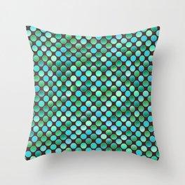 Retro 80s disco turquoise coins texture Throw Pillow