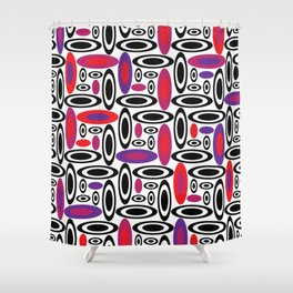 Pink Purple & Red 60's Retro Abstract Circle Pattern Shower Curtain