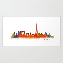 Paris City Skyline Hq v2 Art Print