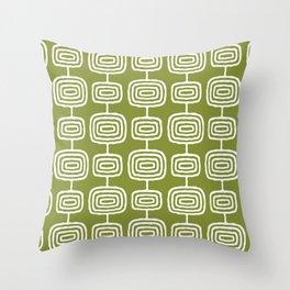 Mid Century Modern Atomic Rings Pattern Olive Green Throw Pillow
