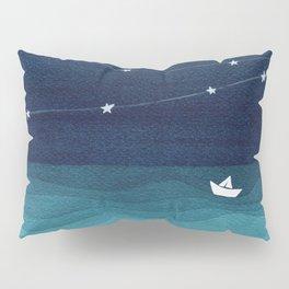 Garlands of stars, watercolor teal ocean Pillow Sham