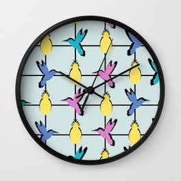 Hummingbirds and pineapples Wall Clock